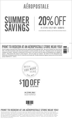 Pinned June 2nd: 20% off and more at Aeropostale coupon via The Coupons App