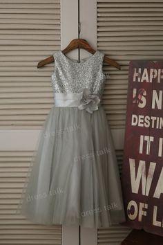 Silver Sequin Grey Tulle Flower Girl Dress Toddler/ Baby Girl Dress for Wedding with Flower Sash Birthday Dress