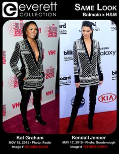 Kat Graham (wearing Balmain x H&M) at arrivals for VH1's BIG MUSIC IN 2015: You Oughta Know, The Foundation, New York, NY November 12, 2015. Photo By: Lev Radin/Everett Collection *** Kendall Jenner (wearing a Balmain for H&M jacket) at arrivals for 2015 Billboard Music Awards - Part 3, MGM Grand Garden Arena, Las Vegas, NV May 17, 2015. Photo By: Elizabeth Goodenough/Everett Collection