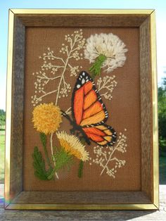 Vintage Needle Point Wall Hanging Orange Butterfly by KathiJanes, $10.95