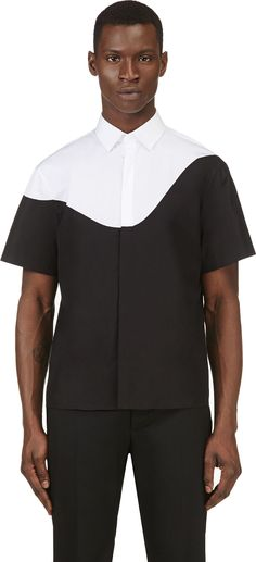 Neil Barrett: Black & White Colorblocked Short Sleeve Shirt