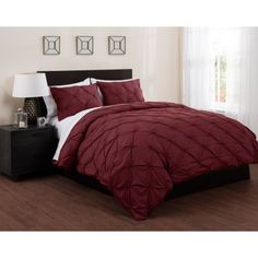 East End Living Pintuck Diamonds Duvet Cover and Sheet Bedding Set, Red