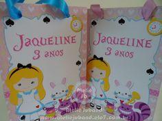 Sacolinha Alice no País das Maravilhas - pequena | Ateliê Juband - Sacolas Personalizadas - Papelaria Personalizada para Festas | Elo7