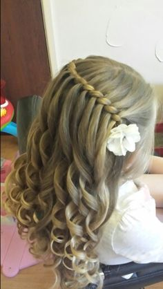 Rope Waterfall Braid, by Sweethearts Hair Design:)-Rope Waterfall Braid, by Swee. Rope Waterfall Braid, by Sweethearts Hair Design:]-Rope Waterfall Braid, by Sweethearts Hair Design:] Rope Waterfall Flower Girl Hairstyles, Little Girl Hairstyles, Down Hairstyles, Braided Hairstyles, Teenage Hairstyles, Hairdos, Wedding Hair Flowers, Flowers In Hair, Sweethearts Hair Design