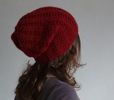 Red Knit Hat Red Beanie Hat Slouchy Beanie Chunky Knit Womens Hat Knit Wool Hat Winter Teen Gift Girl  This Marsala shade hat is chunky hand knit in an expressive rustic manner in order to be unique and stylish. Its designed to be worn as a trendy accessory to your casual urban outfit and freshen it up in a genuine way. Its made with high quality 25% wool and 75% acrylic yarn. Its perfect for cold winter and autumn in order to keep you warm and chic... :)  *Color: MARSALA RED *Size: 21 - 23…