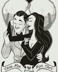 "Detail from ""Cara Mia"" print of Morticia & Gomez Addams by comic artist Jenn St Onge. https://society6.com/product/cara-mia131845_print#s6-6292100p4a1v45"