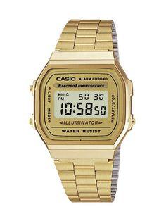 (Spain): Relojes: CASIO Collection A168WG-9EF - Reloj unisex de cuarzo, correa de acero inoxidable color oro (con alarma, cronómetro, luz) - Compre Nuevo: EUR 26,90