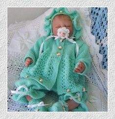 4 PIECE HAND KNITTING PATTERN to fir a reborn doll or a baby with a 18/20  chest