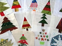 Would be so neat to have a special christmas quilt to bring out every year. The kids could help me make the squares. Christmas Tree Quilt, Christmas Sewing, Noel Christmas, Christmas Crafts, Christmas Quilting, Christmas Jacket, Christmas Blocks, Modern Christmas, Quilt Block Patterns