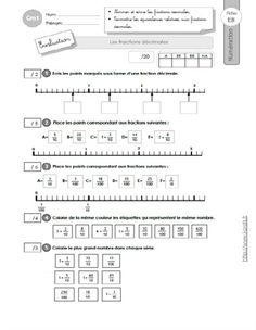 CM1: EVALUATION Décomposer et encadrer les fractions | fraction | Escuela