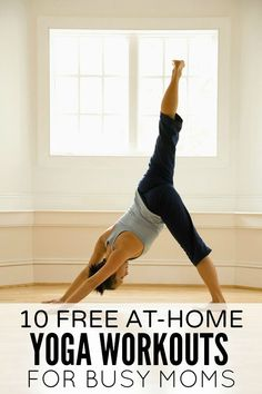 Looking for a way to build core body strength and posture while also reducing your stress levels, but can't seem to find the time? No problem! This collection of 10 free at-home yoga workouts for busy moms is just what you need! #yoga #fitness #workout