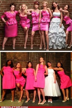 Bridesmaids wedding pose