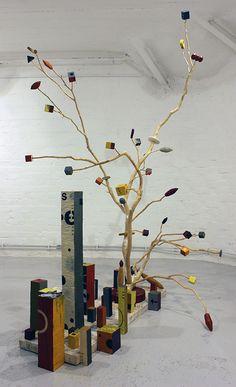 "Kari Södö, ""Forest Flowers"", mixed media on wood"", 2015 Forest Flowers, Wind Chimes, Mixed Media, Sculptures, Wood, Outdoor Decor, Home Decor, Art, Art Background"