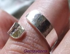 Adjustable hammered Sterling silver band ring by Gemsations26
