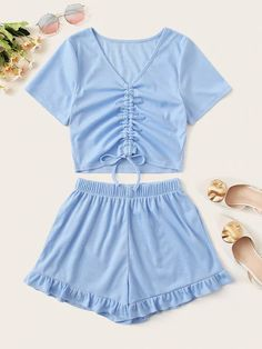 To find out about the Tie Front Rib-Knit Top With Ruffle Hem Shorts at SHEIN, part of our latest Two-piece Outfits ready to shop online today! Cute Lazy Outfits, Summer Outfits For Teens, Teenage Girl Outfits, Stylish Outfits, Look Fashion, Fashion Outfits, Cute Sleepwear, Two Piece Outfit, Outfit Sets