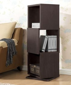 Dark Brown Ogden Three-level Rotating Shelf