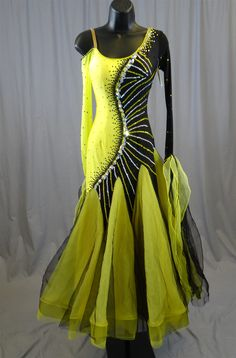 Elegant Black & Yellow Ballroom Dress