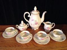 Very Old Vintage 11Pc Bavarian Porcelain Tea Set - US Zone #IJBBavarian Antique Tea Sets, Cup And Saucer, Tea Time, Tea Pots, Porcelain, Miniatures, Ceramics, Antiques, Tableware