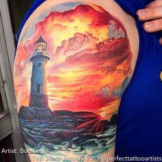 <3 #lighthouse #tattoo Tattoo Artist: Bob Lewis