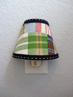 MADE TO ORDER - Madras Fabric Night Light made with fabric from the Pottery Barn Kids Mardras Bedding Collection in Navy. $17.00, via Etsy.