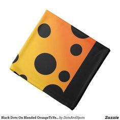 Black Dots On Blended OrangeToYellow Bandana