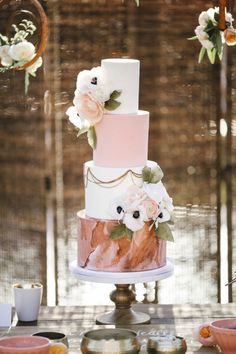 Blush wedding cake by Hey There, Cupcake!