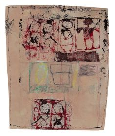 """Hannelore Baron, """"Untitled"""" (1982), fabric and other media, 8 3/8 x 6 7/8 inches."""