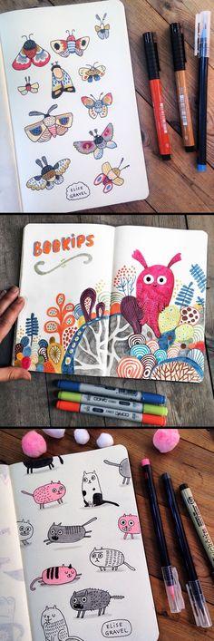 Elise Gravel illustration • skethcbook, • sketches • art • creatures • moth • cats • marker • notebook • doodles • inspiration