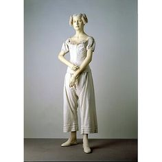 This ensemble illustrates the items of underwear worn by women in the 1830s. The shift had been an essential element of underwear for centuries and remained so in the 19th century. When the sheer fabrics and rather clinging styles of Neo-classical dress became fashionable in the 1790s, drawers were introduced into the female wardrobe for the sake of modesty. They continued to be worn when 19th century dresses evolved into more substantial styles.
