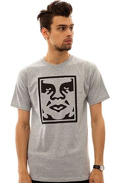 The Icon Face Tee in Heather Grey by Obey