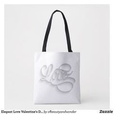 Elegant Love Valentine's Day   Tote Bag Love Valentines, Edge Design, Personalized Products, Reusable Tote Bags, Elegant, Stylish, Simple, Classic, Top