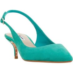 Dune Casandra Kitten Heel Slingback Court Shoes ($98) ❤ liked on Polyvore featuring shoes, pumps, green suede, suede shoes, kitten heel slingbacks, flat slingbacks, flat pumps and flat slingback shoes