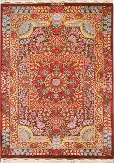 QUM Silk Persian Rug   Exclusive collection of rugs and tableau rugs - Treasure Gallery You pay: $3,500.00 Retail Price: $9,500.00 You Save: 63% ($6,000.00) Item#: CS-Q Category: Small(3x5-5x8) Persian Rugs Design: Size: 100 x 150 (cm) 3' 3 x 4' 11 (ft) Origin: Persian Foundation: Silk Material: Silk Weave: 100% Hand Woven Age: Brand New KPSI: 700