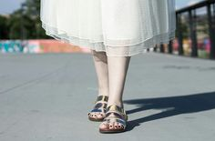 Tulle skirt and sandals