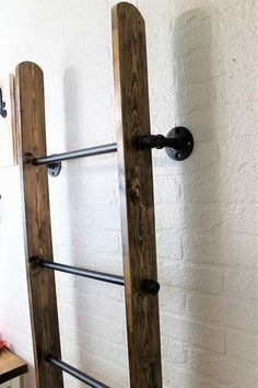 Industrial Metal and Wood Wall Ladder Blanket Ladder - Modern Hanging Ladder, Diy Ladder, Wood Ladder, Ladder Decor, Wood Blanket Ladder, Quilt Ladder, Blanket Rack, Blanket On Wall, Blanket Storage