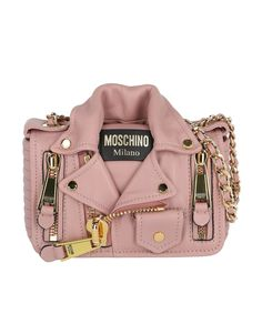 780b983914d DETAILS Moschino Biker Jacket Shoulder Bag leather Gold-plated hardware H X  W X D Strap drop Foldover top with magnetic closure Internal logo patch  Interior ...