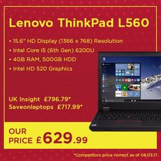 The @lenovo ThinkPad L560 is ultra-durable & includes a fingerprint reader for added security, making it the ultimate business laptop 💻💻 Get it now for our exclusive price   Shop all business laptops http://www.laptopoutlet.co.uk/advancedsearch/result/?q=business+laptop   #Tech #Technology #Lenovo