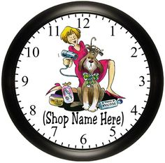 Personalized PET GROOMING Business Wall Clock Decor With Your Shop Name. Available In Different Styles. Dog Grooming Shop, Dog Grooming Business, Grooming Salon, Yorkie Cuts, Pet Spa, Pet Boarding, Pet Shampoo, Cartoon Wall, Clock Decor