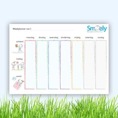 #Gratis #weekplanner voor kinderen | Met deze weekplanner geef je kinderen een duidelijk overzicht over wat er die week komen gaat. | Klik op de afbeelding om naar de #download te gaan | www.smoely.nl