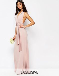 Buy TFNC WEDDING Multiway Maxi Dress at ASOS. Get the latest trends with ASOS now. Blush Evening Dress, Blush Gown, Blush Dresses, Sexy Dresses, Evening Dresses, Wedding Dresses, Bridesmaid Outfit, Bridesmaids, Style