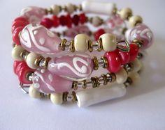 Memory Wire Bangle, Wire Jewelry, Kazuri Beads, Fair Trade, Lampwork Beads. $25.00, via Etsy.