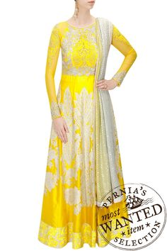 Varun Bahl presents Yellow heavily embroidered anarkali set available only at Pernia's Pop-Up Shop. Pakistani Bridal Wear, Pakistani Dresses, Indian Dresses, Indian Outfits, Indian Clothes, Indian Fashion Designers, Indian Designer Wear, Traditional Fashion, Traditional Outfits