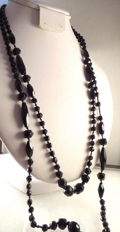 Art Deco Black Jet Glass Necklace Long Mourning