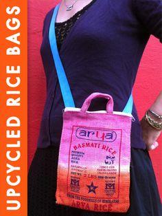 Upcycled Rice Bags into Dip-Dye Handbags!   Rit Dye