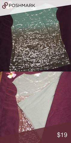 Sequined top Liz Claiborne sequined top is super sharpe. 60% cotton 40% modal. The gradient colors of seafoam green and brown are enhanced with clear sequins for quite the sparkle. Liz Claiborne Tops