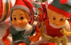 Vintage Christmas Elf Knee Hugger Pair Red Green