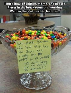 A Bowl of Skittles, M&M's and Reeses Pieces