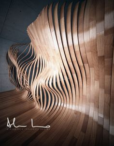 Living Parquet by Alessandro innocenti, via Behance Parametric Architecture, Parametric Design, Organic Architecture, Art And Architecture, Instalation Art, Digital Fabrication, Wow Art, Photomontage, Wood Design