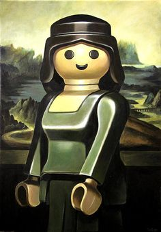 "Pierre Adrien Sollier recreates famous portraits, replacing humans with Playmobil figures in his paintings. - ""Mona Lisa"" / ""La Joconde"""