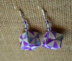 Shimmery Purple Cube Earrings Shiny Paper Origami by JustFolds
